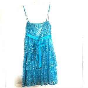 Betsey Johnson Aqua Sequined Party Dress